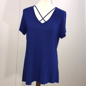 Able L Blue t-shirt with crisscross at v neckline
